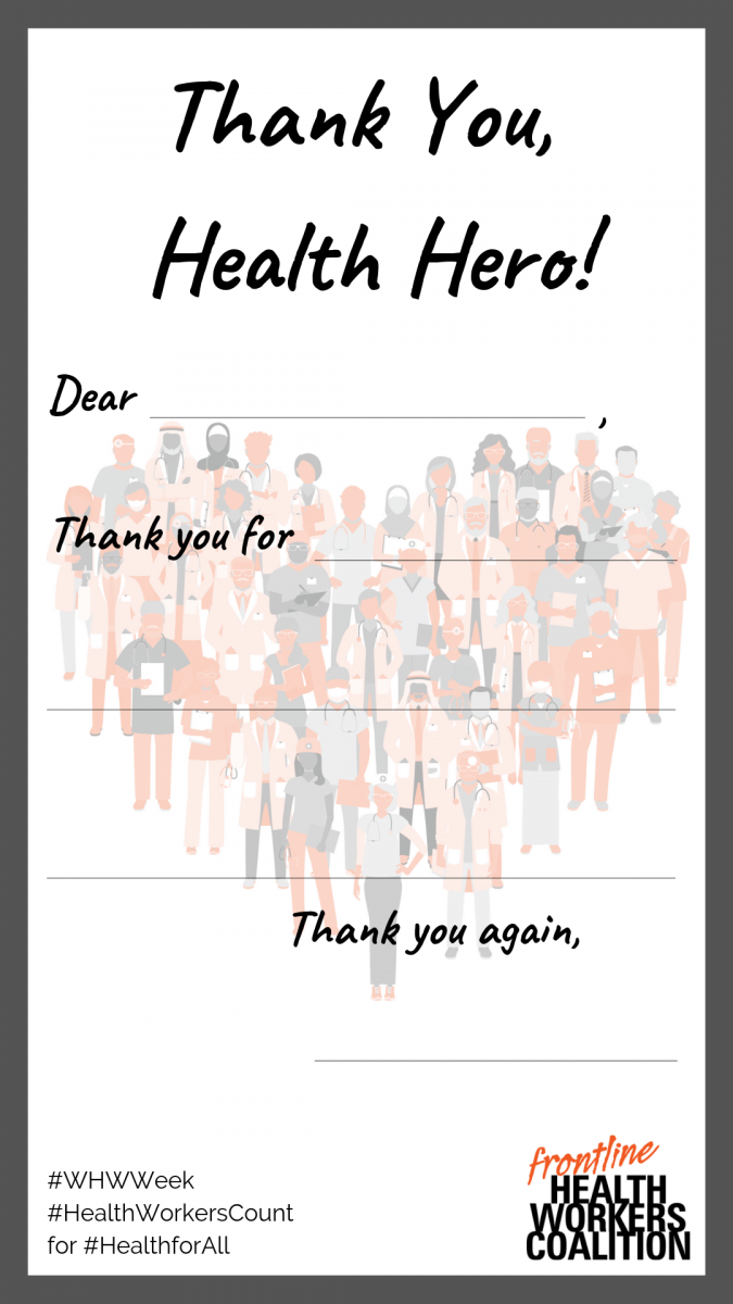 health worker hero thank you note campaign
