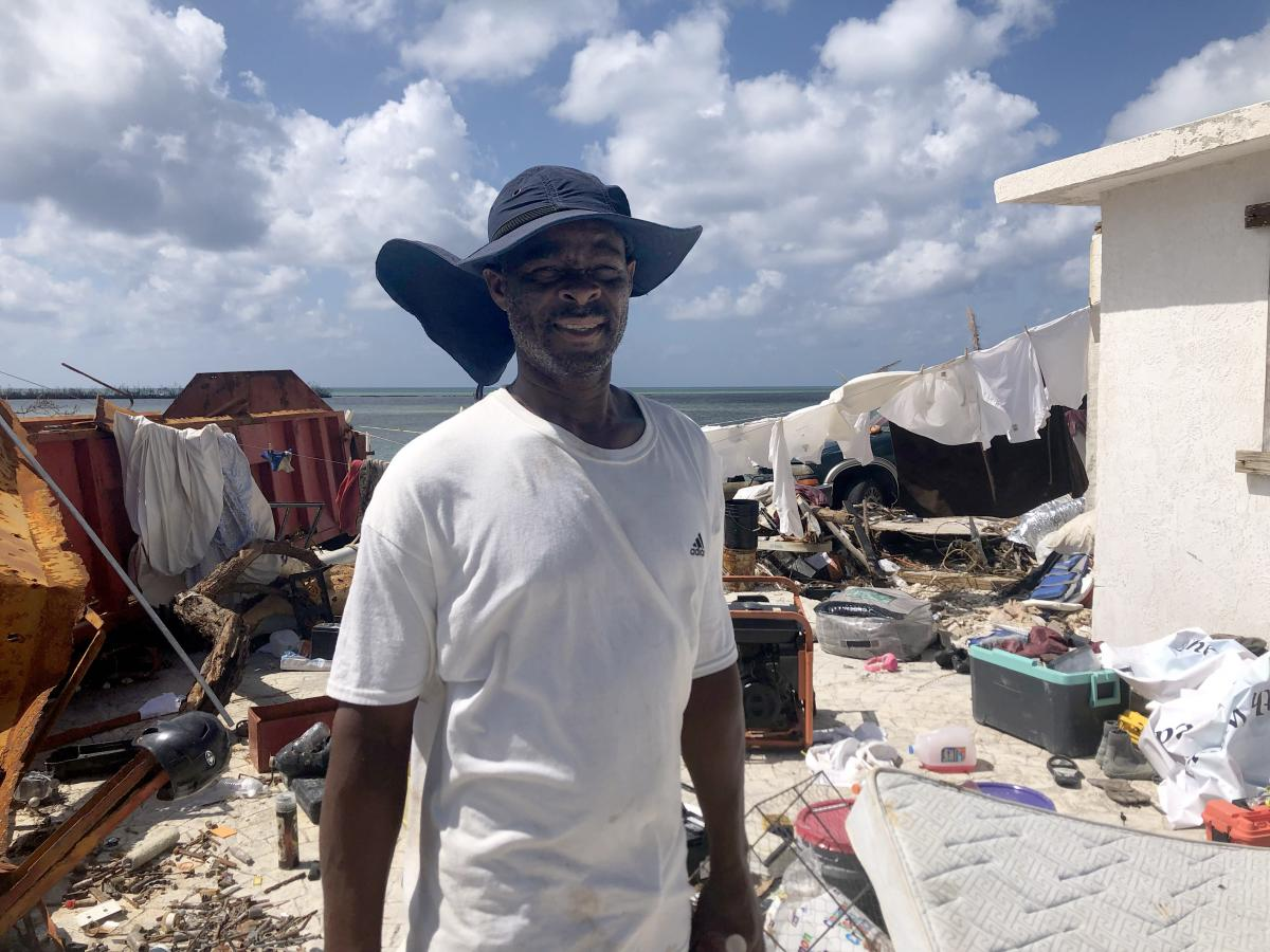 Joe Tate, a survivor of Hurricane Dorian, at his destroyed home in McLeans Town, Grand Bahama.