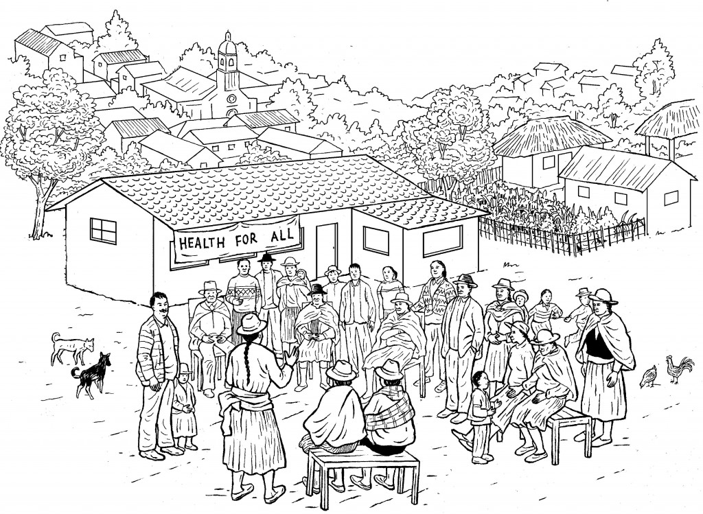 An image from Hesperian's A Community Guide for Environmental Health, which was later adapted by a Mongolian group in their translation of the book, as shown below.
