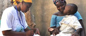 Djenebou Keita, a community health worker, tests a 2-year-old boy for malaria in Mali, one of 19 focus countries that benefit from the U.S. President's Malaria Initiative. Photo courtesy of USAID.