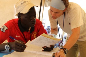 Nora Hellman training a South Sudanese nurse. Courtesy International Medical Corps
