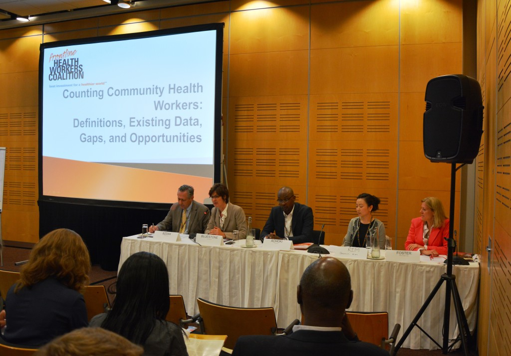 Sept. 29, 2014: Panelists from at the Frontline Health Workers Coalition satellite session during the Third Global Symposium on Health Systems Research in Cape Town discuss the need for improving community health worker data for decision making. Credit: Frontline Health Workers Coalition.