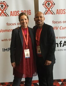 Jessica Daly (left) and Dr. Sanele Madela at the AIDS 2016 Conference. Courtesy of Medtronic Foundation.