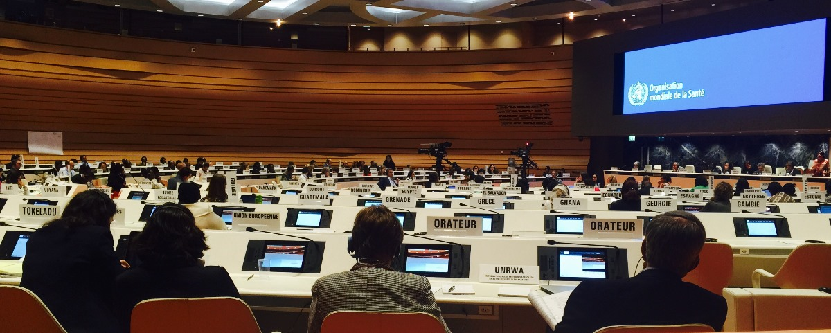 Member states debate adoption of the Workforce 2030 strategy at the World Health Assembly in May 2016. Photo by Vince Blaser, Frontline Health Workers Coalition.